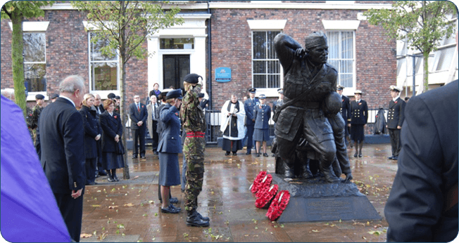 The memorial to Noel Chavasse stands in Abercromby Square, the family home when his father was the Bishop of Liverpool