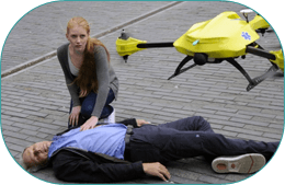 Flying ambulance AED drone